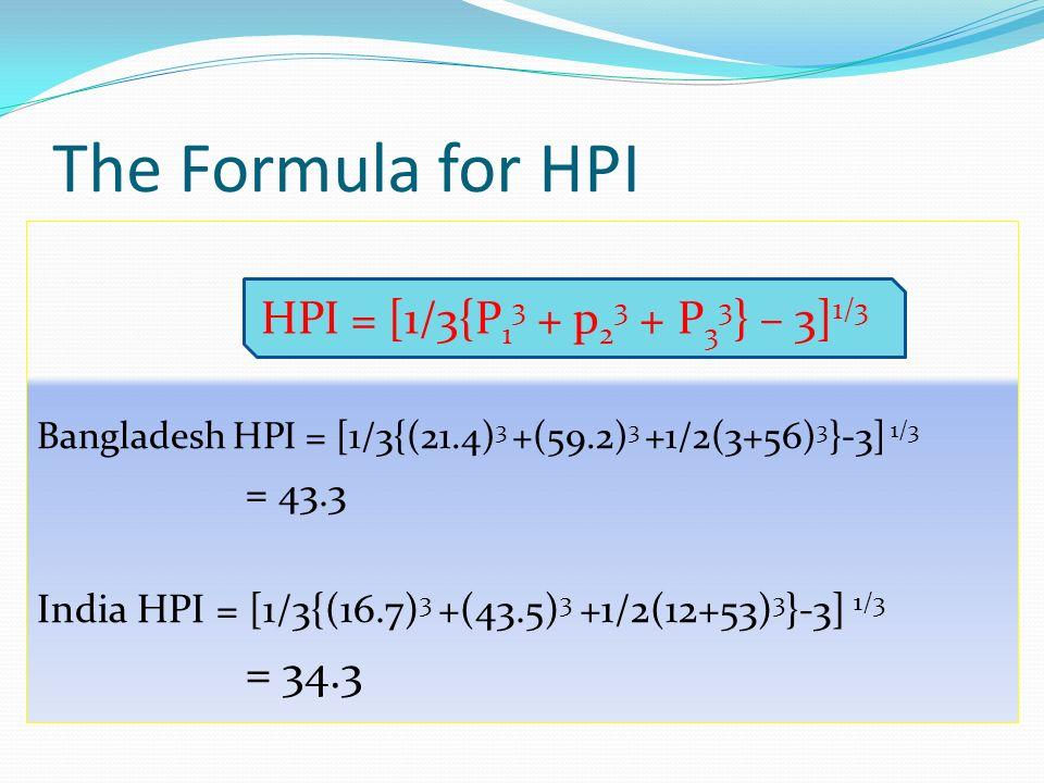 Bangladesh HPI = [1/3{(21.4) 3 +(59.2) 3 +1/2(3+56) 3 }-3] 1/3 = 43.3 India HPI = [1/3{(16.7) 3 +(43.5) 3 +1/2(12+53) 3 }-3] 1/3 = 34.3 The Formula fo