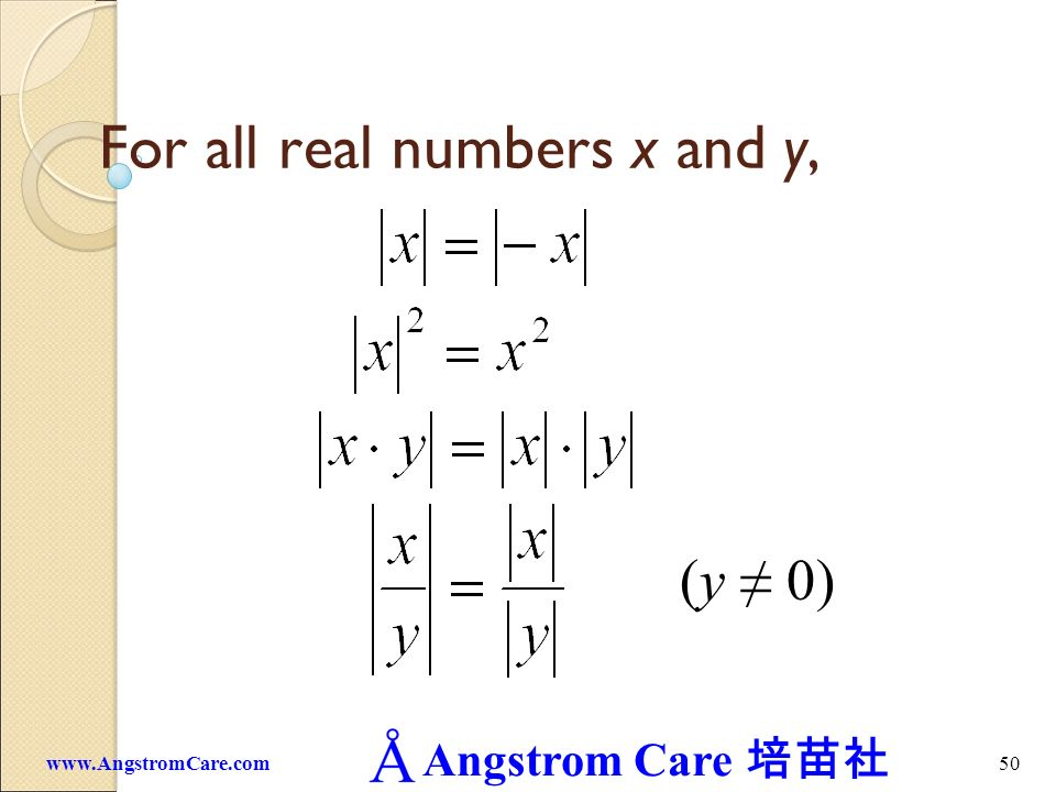 Angstrom Care 49www.AngstromCare.com Let x be any real number. The absolute value of x, denoted by | x |, is defined as x if x 0. -x if x < 0. eg. | 5