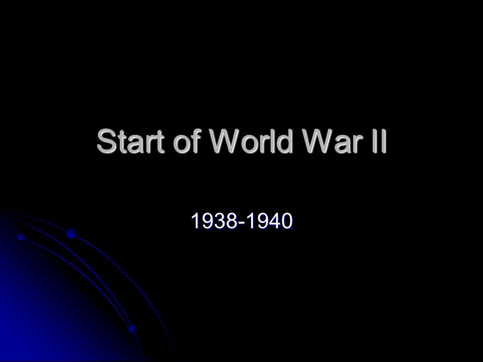Start of World War II 1938-1940