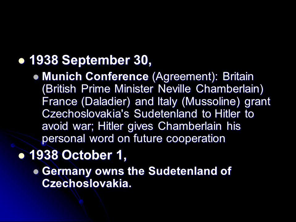 1938 September 30, 1938 September 30, Munich Conference (Agreement): Britain (British Prime Minister Neville Chamberlain) France (Daladier) and Italy