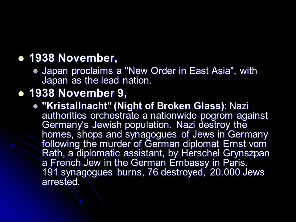 1938 November, 1938 November, Japan proclaims a