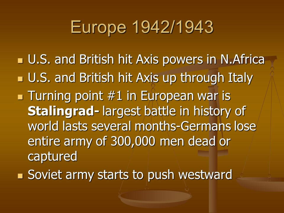 Europe 1942/1943 U.S. and British hit Axis powers in N.Africa U.S. and British hit Axis powers in N.Africa U.S. and British hit Axis up through Italy