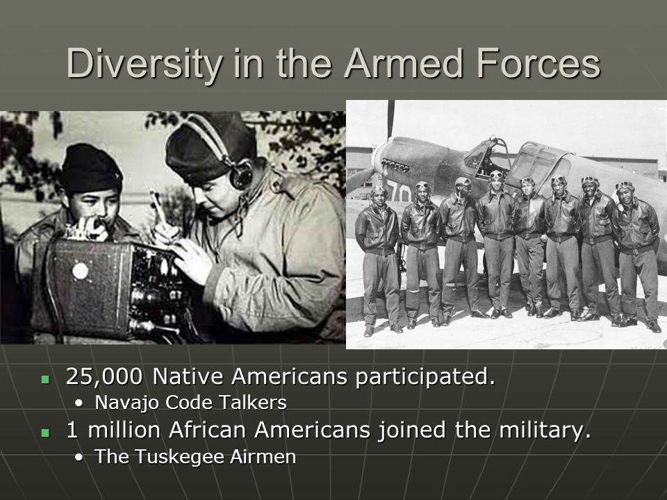 Diversity in the Armed Forces 25,000 Native Americans participated. 25,000 Native Americans participated. Navajo Code TalkersNavajo Code Talkers 1 mil