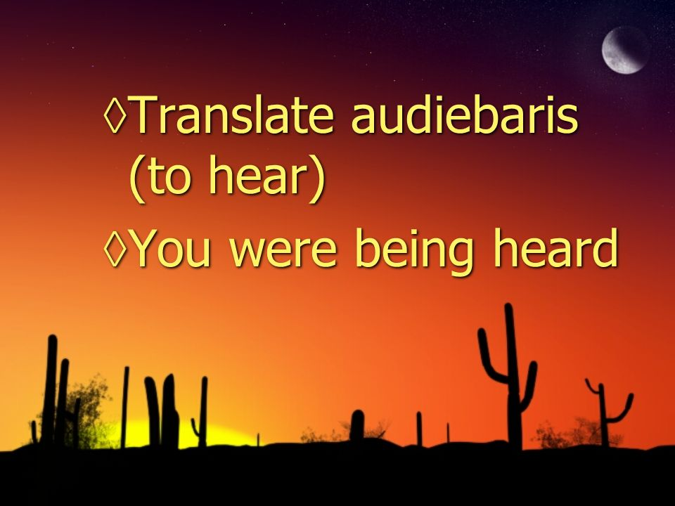 Translate audiebaris (to hear) You were being heard Translate audiebaris (to hear) You were being heard