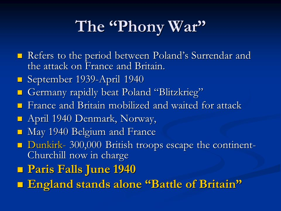 The Phony War Refers to the period between Polands Surrendar and the attack on France and Britain. Refers to the period between Polands Surrendar and