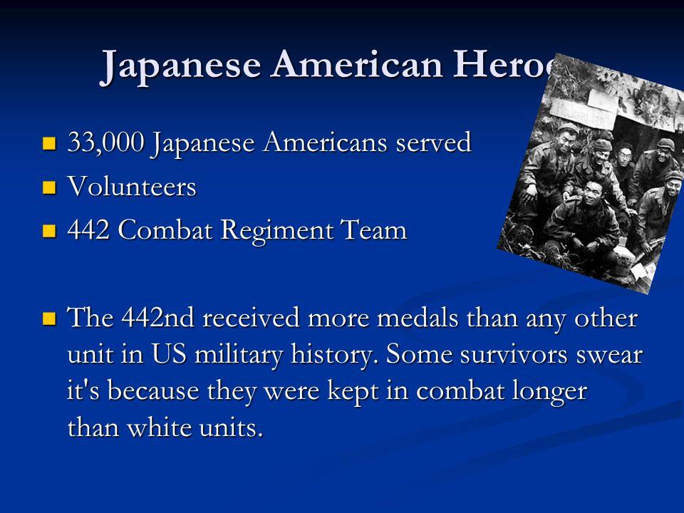 Japanese American Heroes 33,000 Japanese Americans served 33,000 Japanese Americans served Volunteers Volunteers 442 Combat Regiment Team 442 Combat R