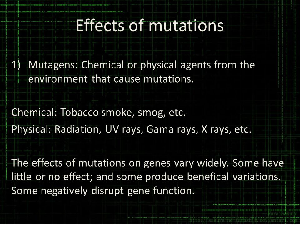 Effects of mutations 1)Mutagens: Chemical or physical agents from the environment that cause mutations. Chemical: Tobacco smoke, smog, etc. Physical: