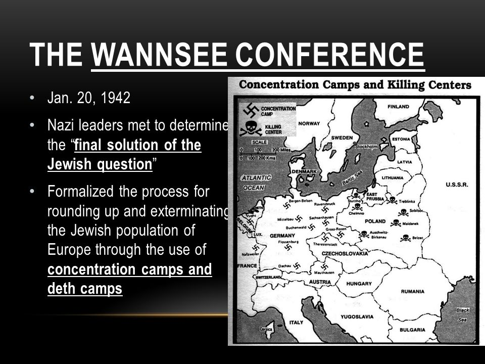 THE WANNSEE CONFERENCE Jan. 20, 1942 Nazi leaders met to determine the final solution of the Jewish question Formalized the process for rounding up an