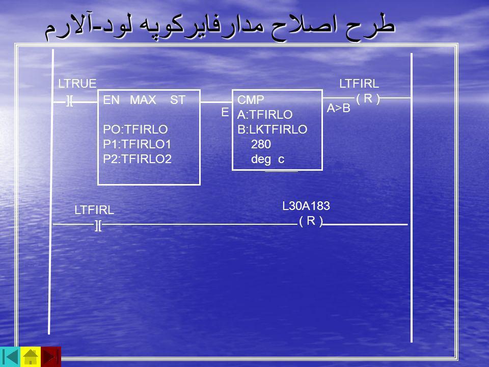 طرح اصلاح مدارفايركوپه لود - آلارم CMP A:TFIRLO B:LKTFIRLO 280 deg c EN MAX ST PO:TFIRLO P1:TFIRLO1 P2:TFIRLO2 ][ LTFIRL ( R ) LTFIRL ][ L30A183 ( R )