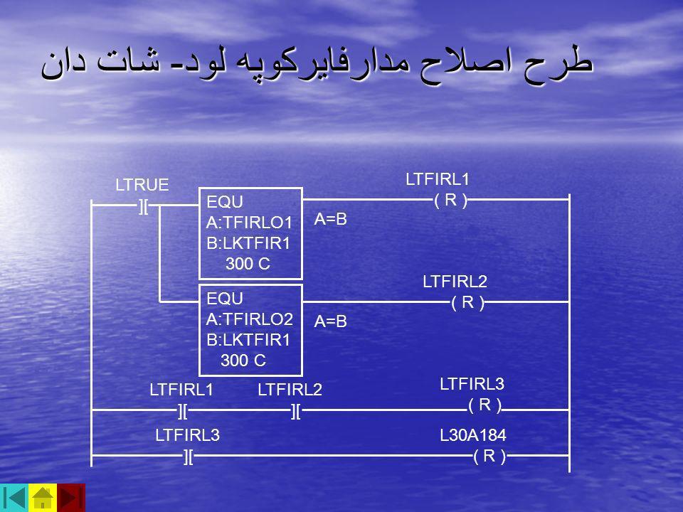 طرح اصلاح مدارفايركوپه لود - شات دان LTFIRL1 ( R ) LTRUE ][ A=B EQU A:TFIRLO1 B:LKTFIR1 300 C EQU A:TFIRLO2 B:LKTFIR1 300 C LTFIRL2 ( R ) LTFIRL1 ][ L
