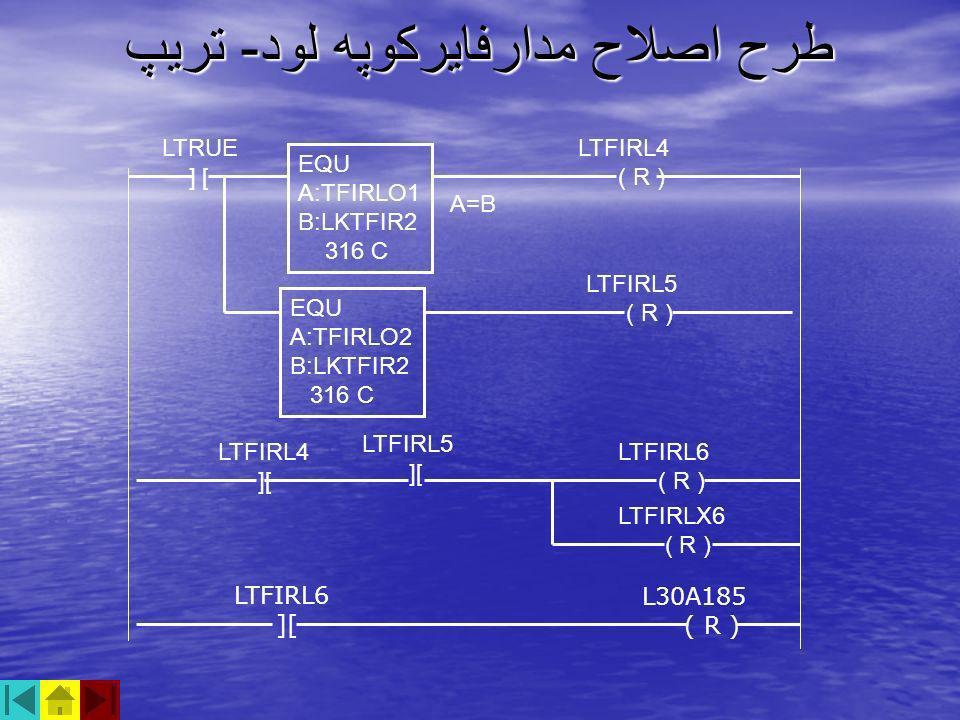 طرح اصلاح مدارفايركوپه لود - تريپ LTFIRL4 ( R ) LTRUE ] [ A=B EQU A:TFIRLO1 B:LKTFIR2 316 C EQU A:TFIRLO2 B:LKTFIR2 316 C LTFIRL5 ( R ) LTFIRL4 ][ LTF