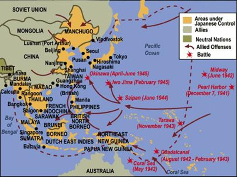 War in the Pacific Battle for Guadalcanal (August 1942) –First land engagement of the war –Guadalcanal was important because it could serve as a stepp