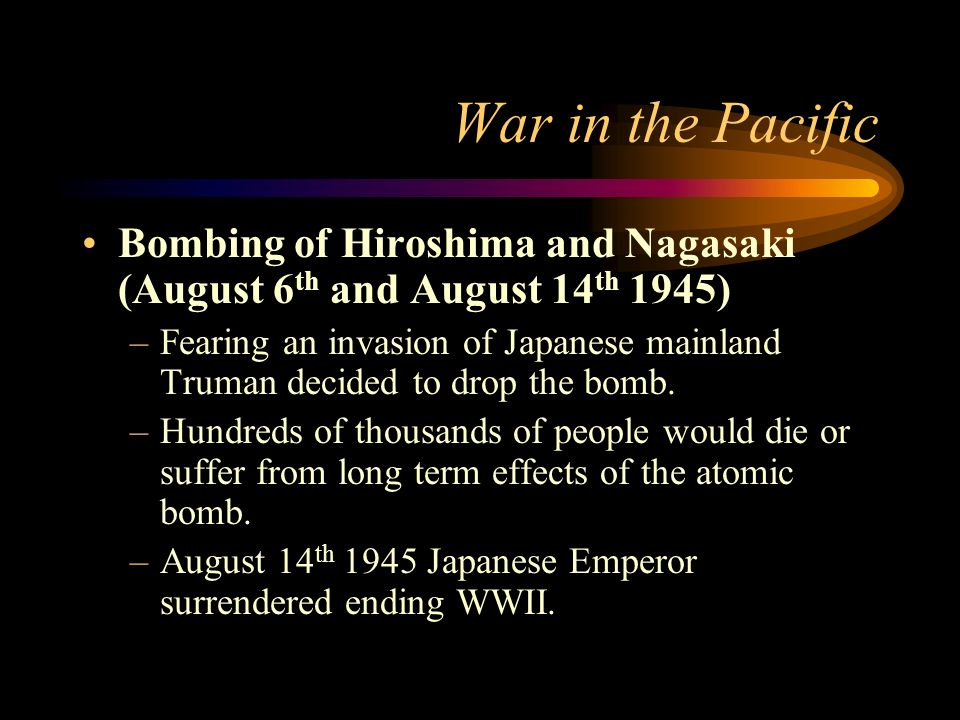 War in the Pacific Atomic Bomb (Manhattan Project) –The atomic bomb cost $2 billion to build. –Bomb was built by the OSRD and European Scientist who h