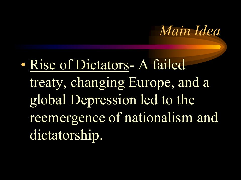 World War II Rise of Dictatorships Holocaust Beginning of WWII Home Front Preparations Atlantic Front & Pacific Front Peace Talks