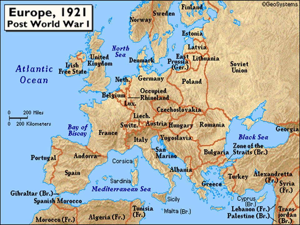 Map of Europe prior to WWI