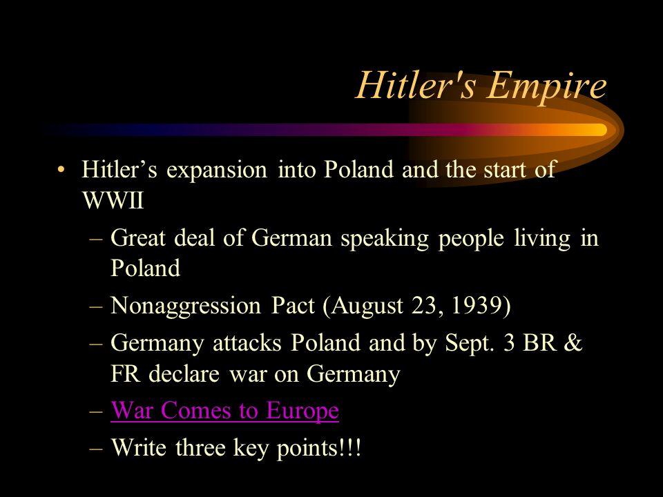 Hitler moves to build his Empire Hitler pushes for more Lebensraum –Lebensraum- mean living space for Germans –In 1935 Hitler begins to rebuild the mi