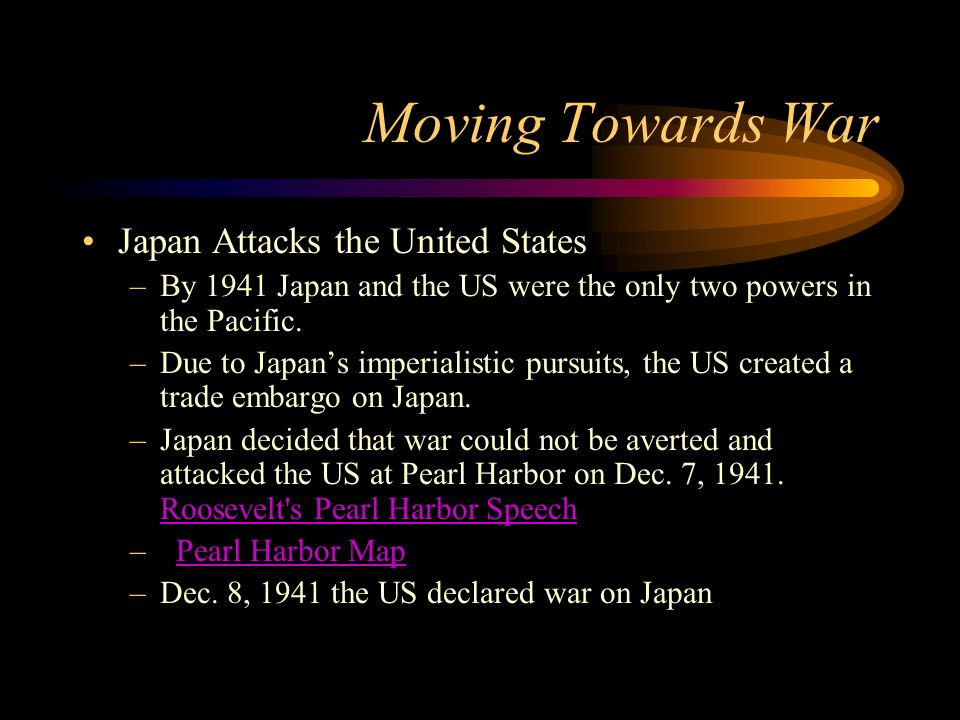 Moving Towards War Atlantic Charter –Meeting between FDR and Churchill that hoped to rally support for the war. –Collective security, disarmament, sel