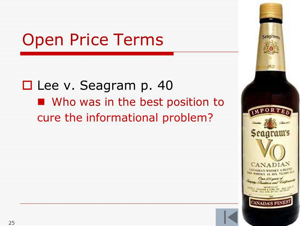 Open Price Terms Lee v.Seagram p.