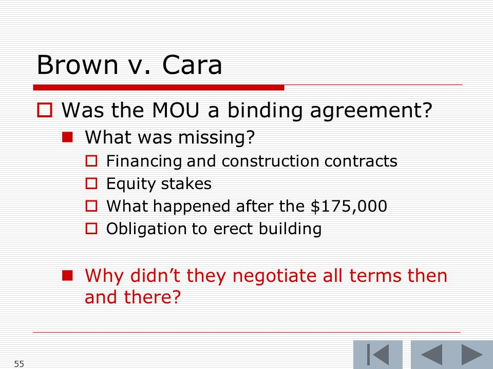 Brown v.Cara Was the MOU a binding agreement. What was missing.