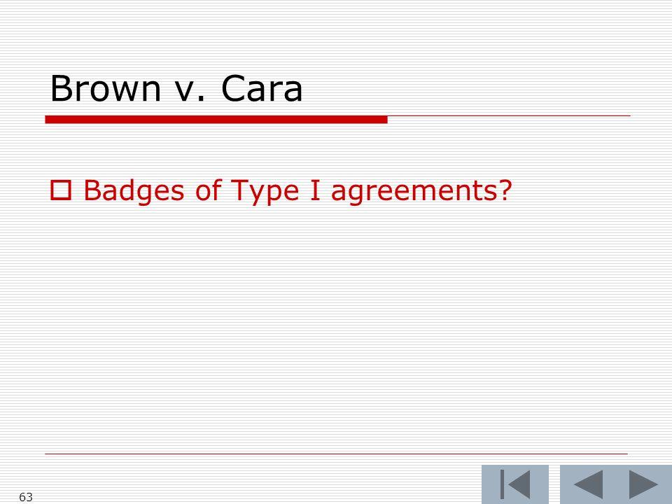 Brown v. Cara Badges of Type I agreements 63