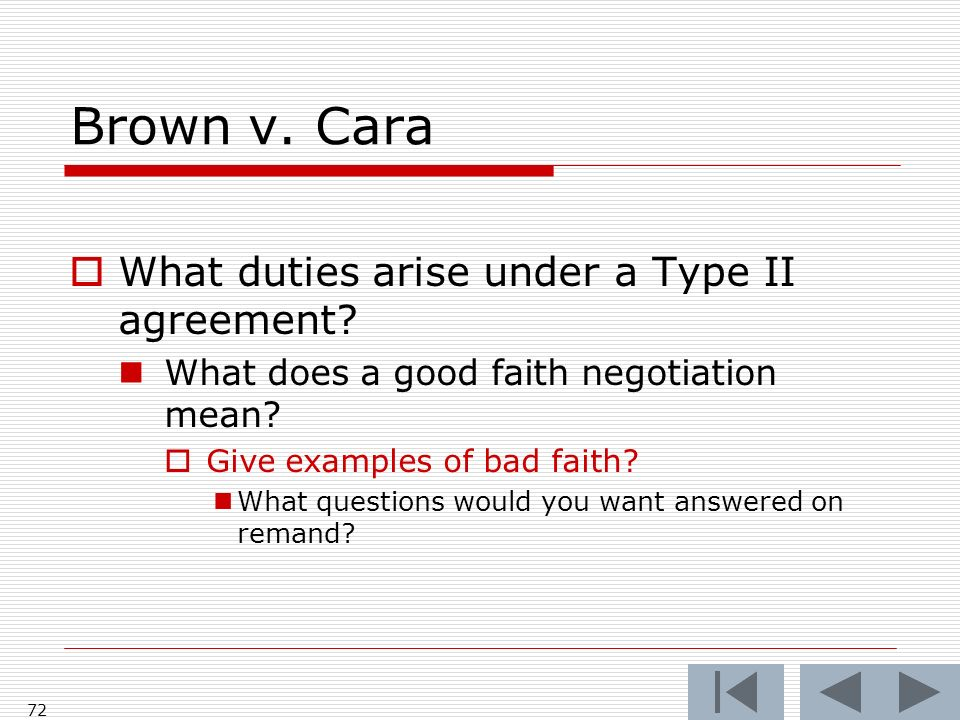 Brown v.Cara What duties arise under a Type II agreement.
