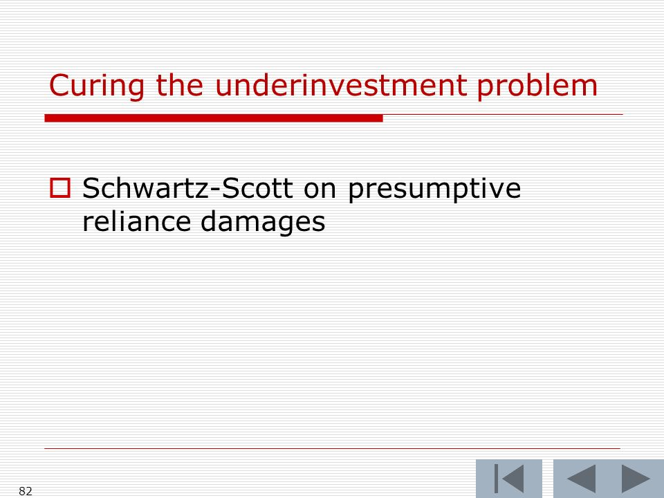 Curing the underinvestment problem Schwartz-Scott on presumptive reliance damages 82