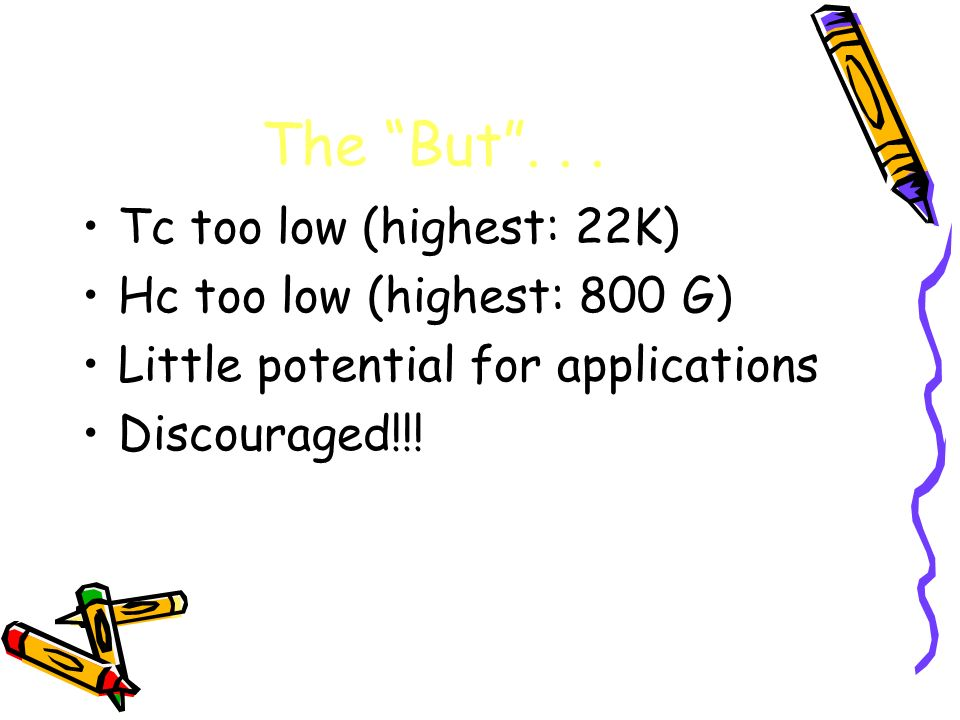 The But... Tc too low (highest: 22K) Hc too low (highest: 800 G) Little potential for applications Discouraged!!!