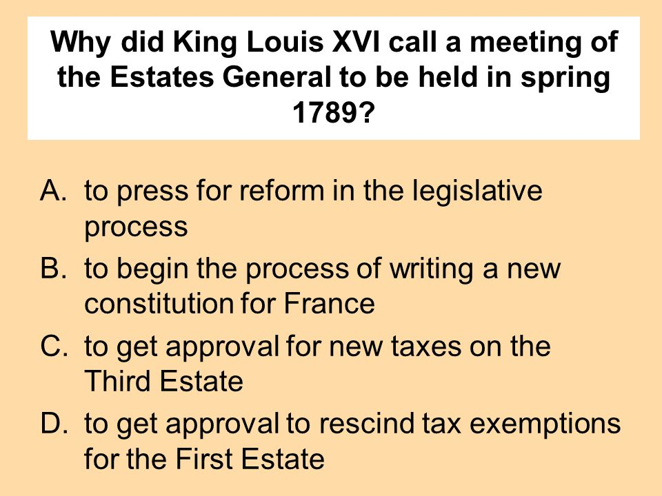 Why did King Louis XVI call a meeting of the Estates General to be held in spring 1789? A.to press for reform in the legislative process B.to begin th