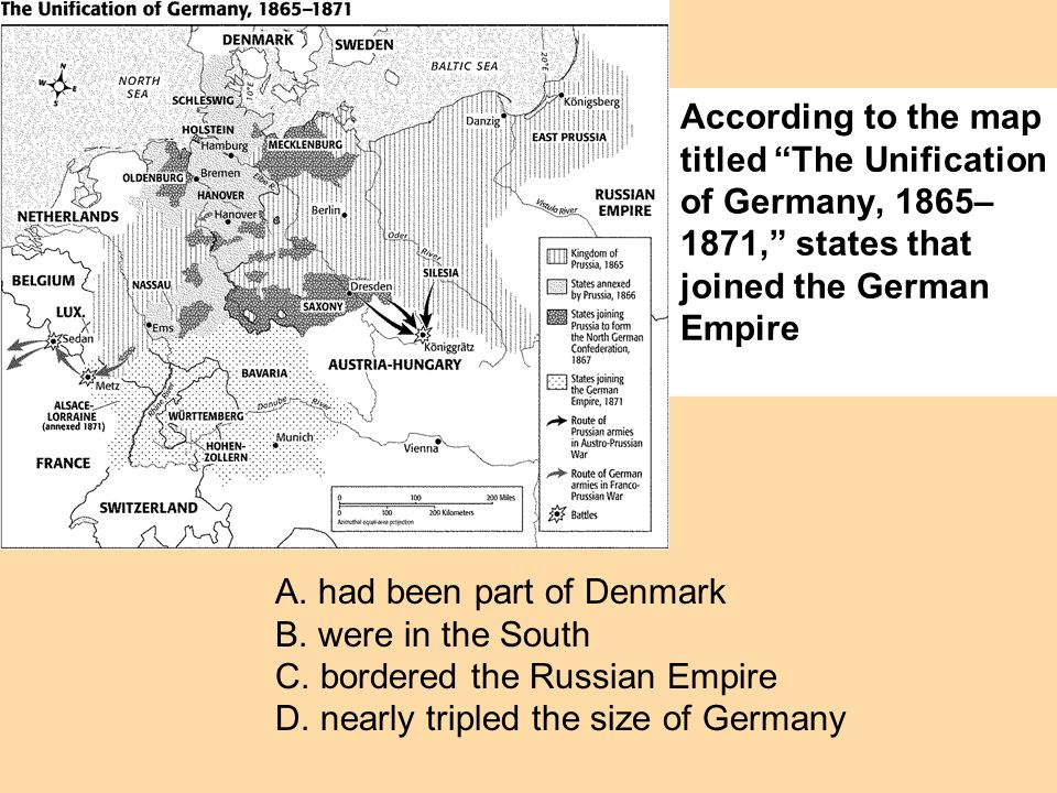 According to the map titled The Unification of Germany, 1865– 1871, states that joined the German Empire A. had been part of Denmark B. were in the So