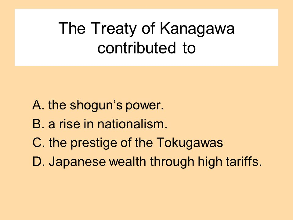 The Treaty of Kanagawa contributed to A. the shoguns power. B. a rise in nationalism. C. the prestige of the Tokugawas D. Japanese wealth through high