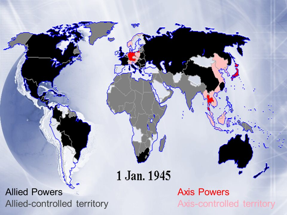 Allied PowersAxis Powers Allied-controlled territoryAxis-controlled territory