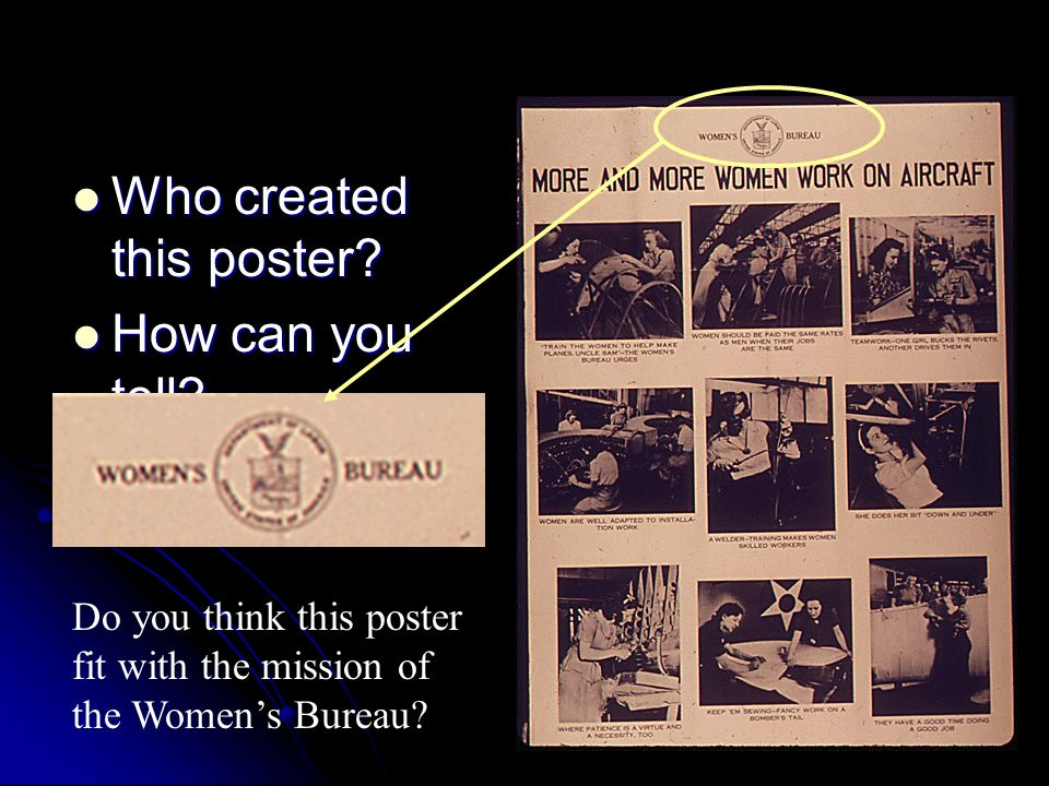 Who created this poster? Who created this poster? How can you tell? How can you tell? Do you think this poster fit with the mission of the Womens Bure