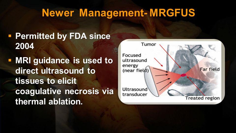 Fibroid Newer Management Mirena : Third generation IUCD Third generation IUCD Contains Progesteron LNG 60 mg releasing 20 ug /day Contains Progesteron
