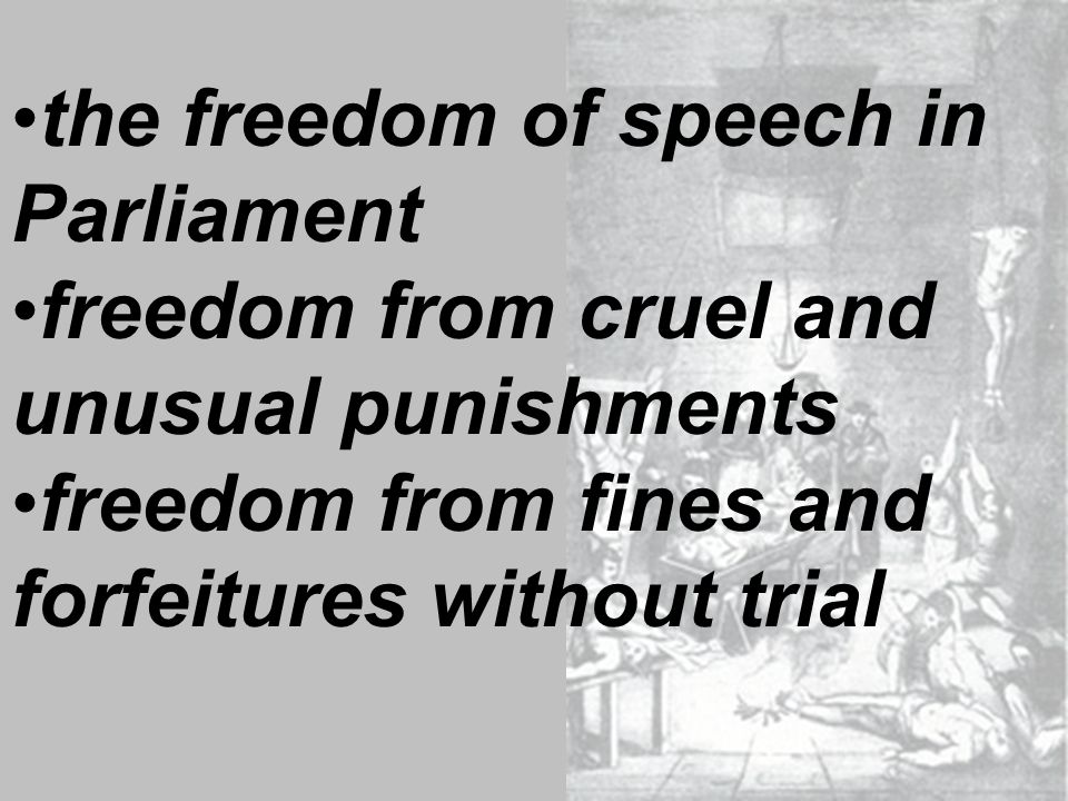 the freedom of speech in Parliament freedom from cruel and unusual punishments freedom from fines and forfeitures without trial