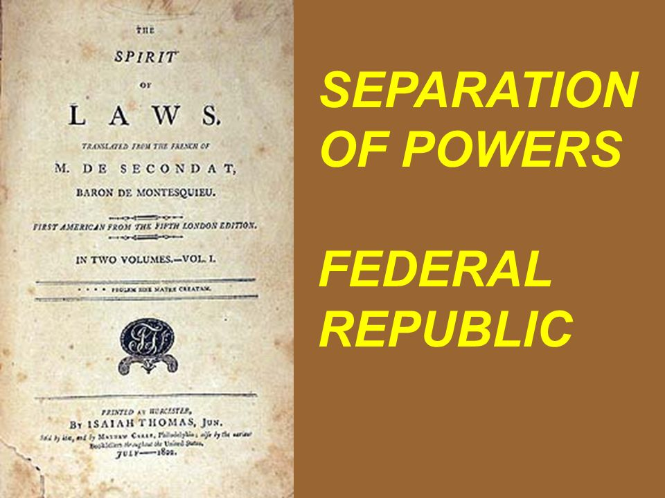 SEPARATION OF POWERS FEDERAL REPUBLIC