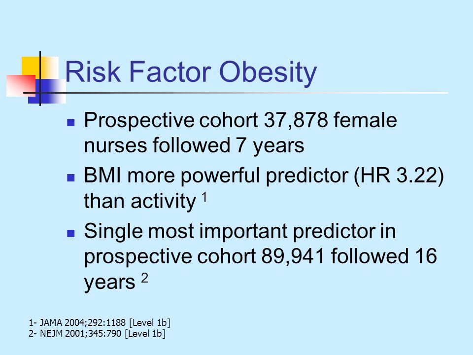 Risk Factor Obesity Prospective cohort 37,878 female nurses followed 7 years BMI more powerful predictor (HR 3.22) than activity 1 Single most importa