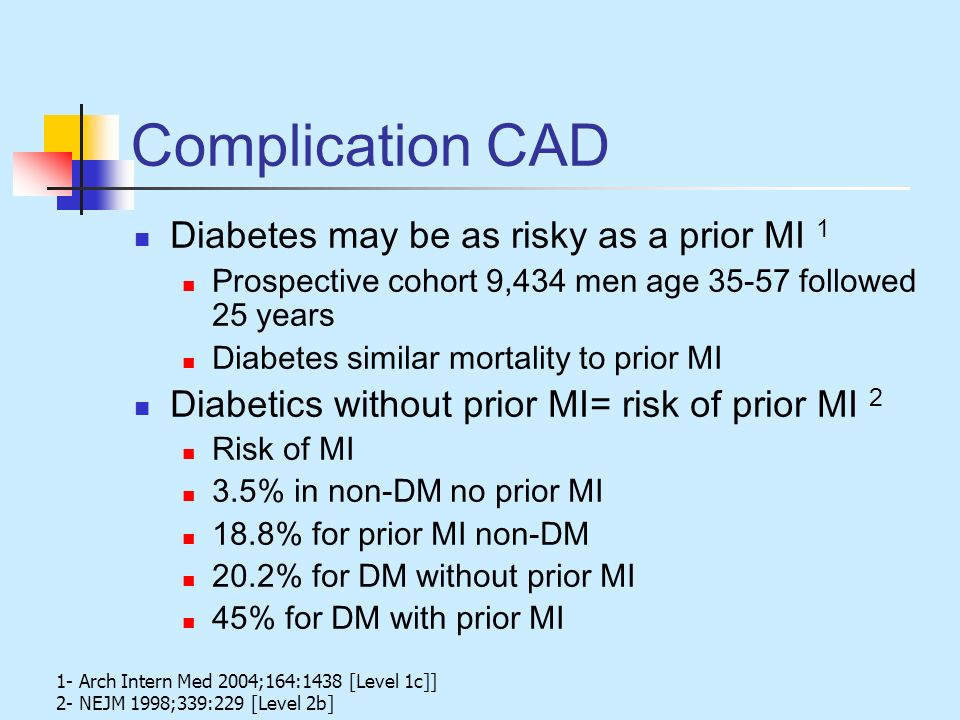 Complication CAD Diabetes may be as risky as a prior MI 1 Prospective cohort 9,434 men age 35-57 followed 25 years Diabetes similar mortality to prior