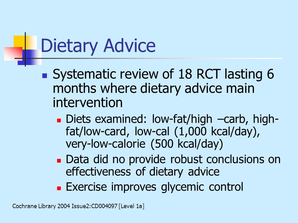 Dietary Advice Systematic review of 18 RCT lasting 6 months where dietary advice main intervention Diets examined: low-fat/high –carb, high- fat/low-c