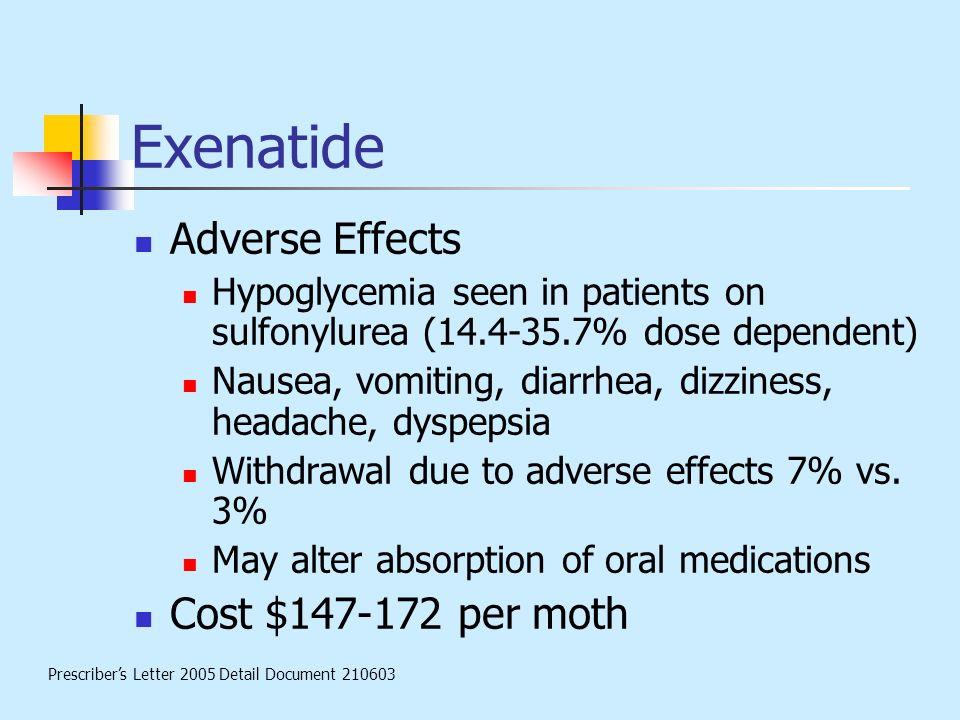 Exenatide Adverse Effects Hypoglycemia seen in patients on sulfonylurea (14.4-35.7% dose dependent) Nausea, vomiting, diarrhea, dizziness, headache, d