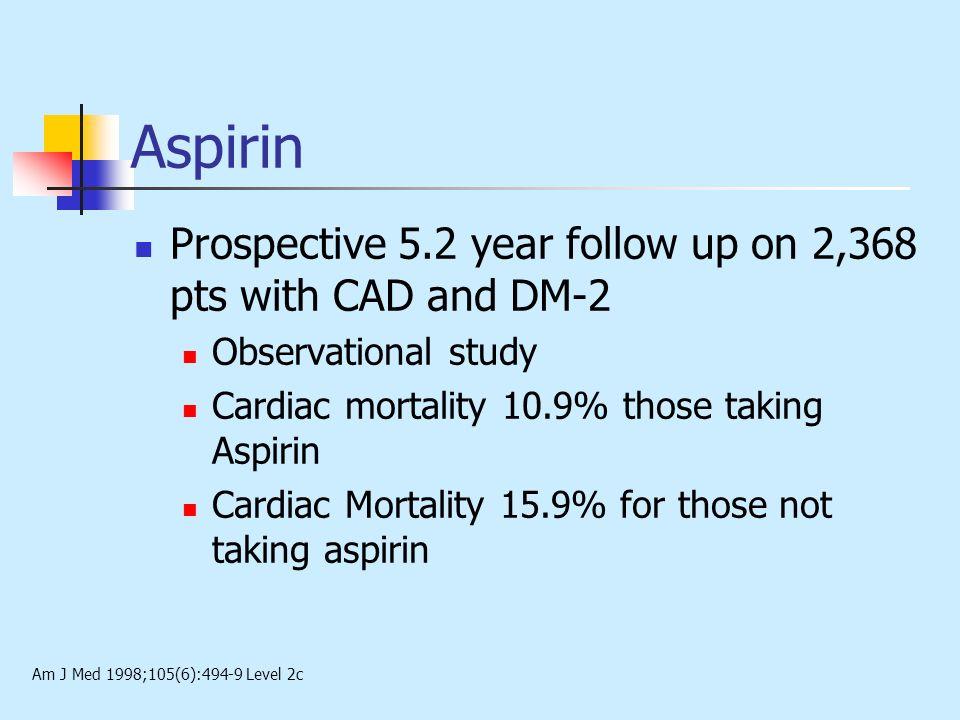 Aspirin Prospective 5.2 year follow up on 2,368 pts with CAD and DM-2 Observational study Cardiac mortality 10.9% those taking Aspirin Cardiac Mortali