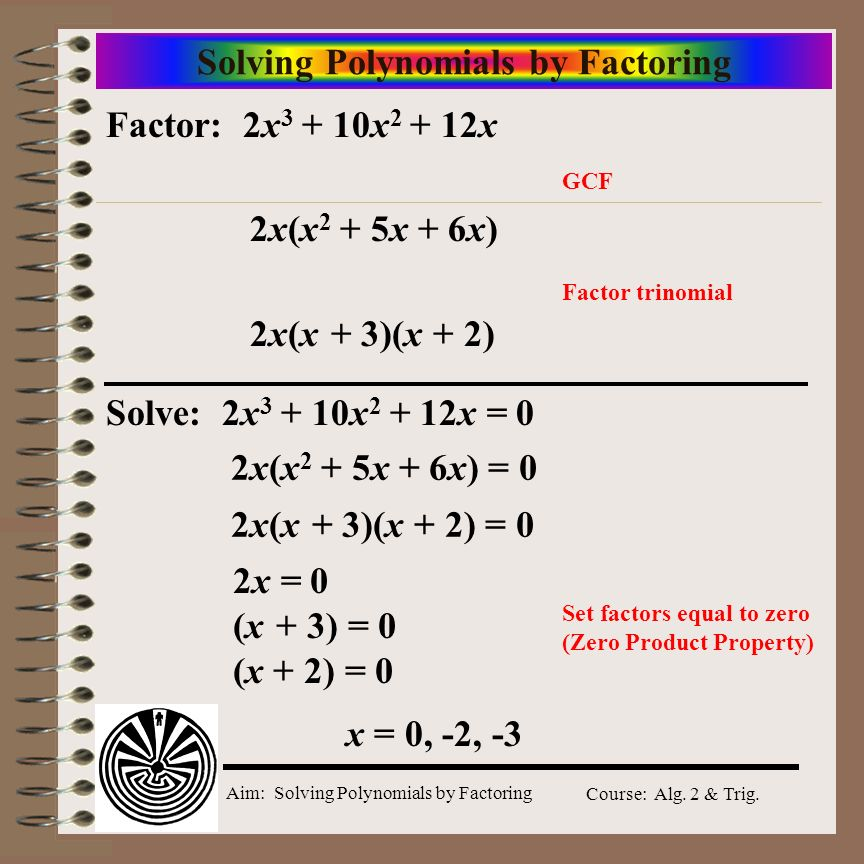 Aim: Solving Polynomials by Factoring Course: Alg. 2 & Trig. Solving Polynomials by Factoring Factor: 2x 3 + 10x 2 + 12x GCF Factor trinomial 2x(x 2 +