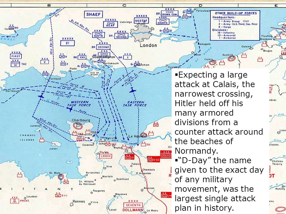 59 As an invasion of southern Italy pushed back Axis forces, a large Allied attack was planned to hit Nazi-controlled France by crossing the English C