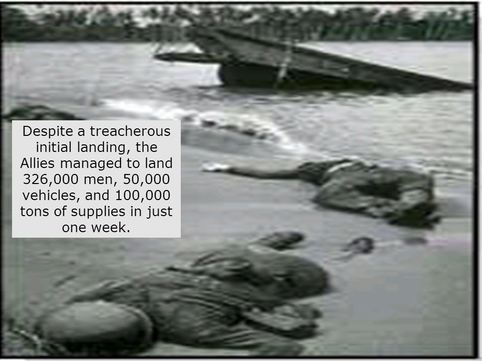 64 CARGO SHIPS BEING UNLOADED ON THE INVASION BEACHES TO SUPPLY THE INVADING ARMIES A total of 600 warships, 400 small crafts, 176,000 troops, and an