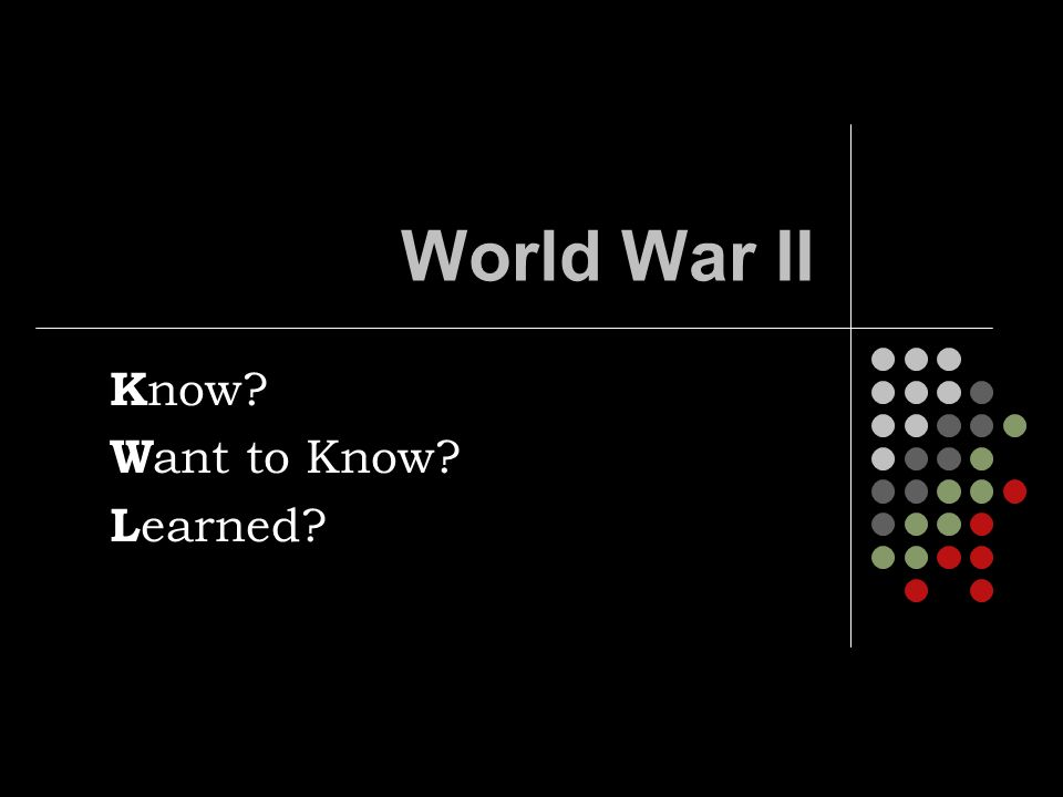 World War II K now W ant to Know L earned