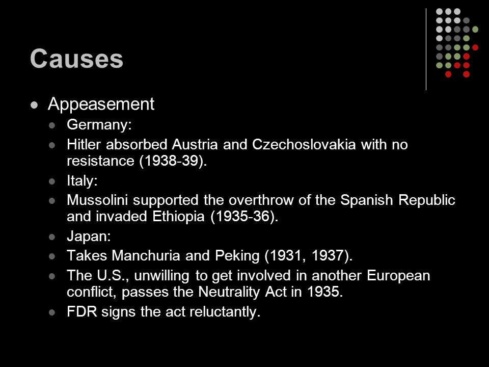 Causes Appeasement Germany: Hitler absorbed Austria and Czechoslovakia with no resistance (1938-39).