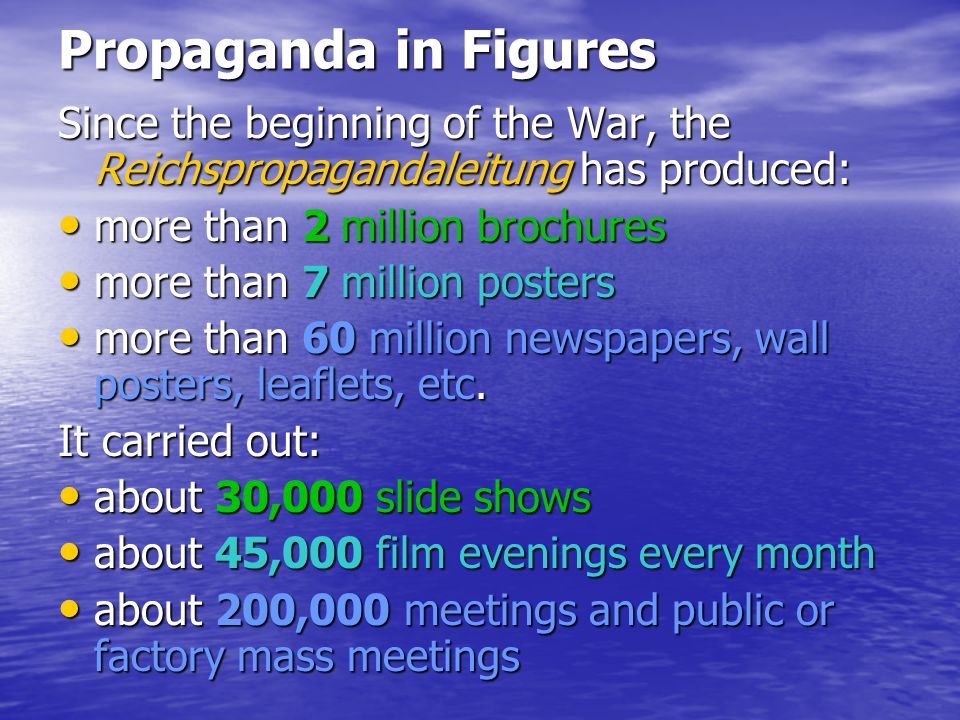 Propaganda in Figures Since the beginning of the War, the Reichspropagandaleitung has produced: more than 2 million brochures more than 2 million broc