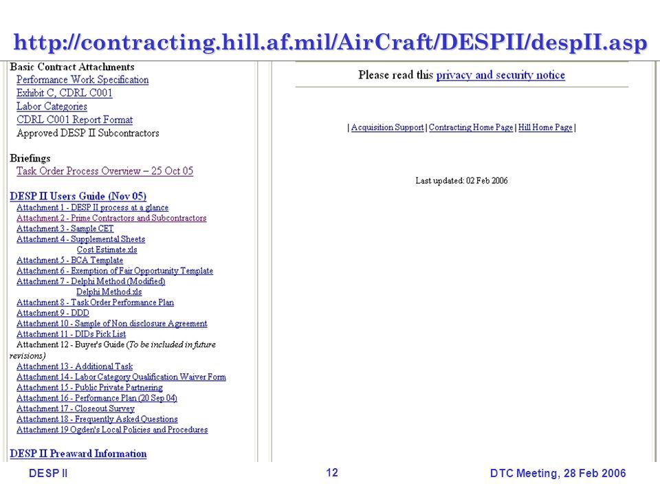 DTC Meeting, 28 Feb 2006 12 DESP IIhttp://contracting.hill.af.mil/AirCraft/DESPII/despII.asp