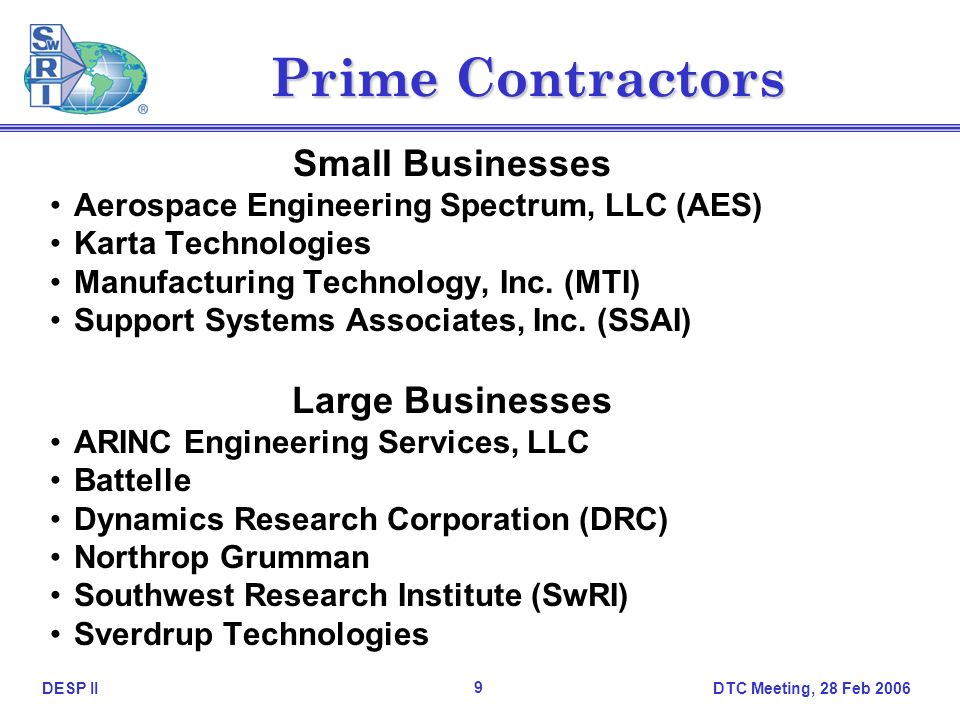 DTC Meeting, 28 Feb DESP II Prime Contractors Small Businesses Aerospace Engineering Spectrum, LLC (AES) Karta Technologies Manufacturing Technology, Inc.