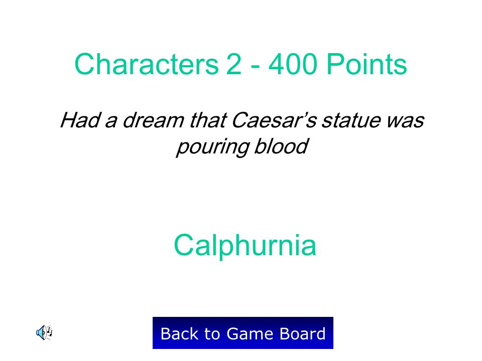 Calphurnia Back to Game Board Characters 2 - 400 Points Had a dream that Caesars statue was pouring blood
