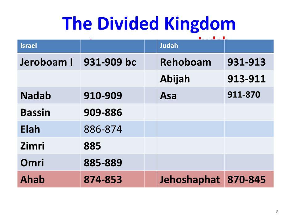 The Divided Kingdom Israel Judah IsraelJudah Jeroboam I931-909 bcRehoboam931-913 Abijah913-911 Nadab910-909Asa 911-870 Bassin909-886 Elah886-874 Zimri885 Omri885-889 Ahab874-853Jehoshaphat870-845 8